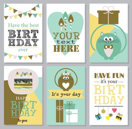 cute cards: Set of 6 cute creative cards templates with Happy birthday theme design. Illustration
