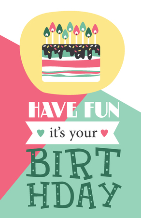 birthday party: Birthday, holiday, invitation card. Layout template in A4 size. Vector illustration