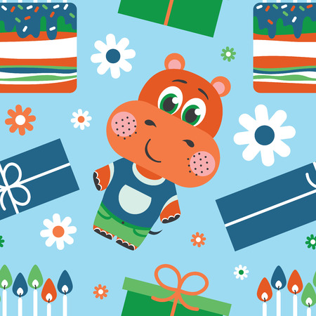 children party: Happy birthday. Pattern with Hippo vector illustration Illustration