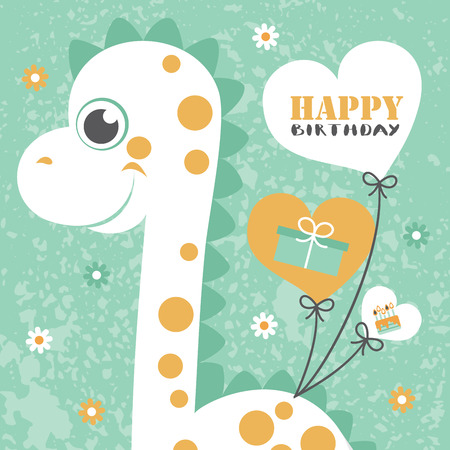 Happy Birthday Greeting Card With Cute Hippo Vector Illustration