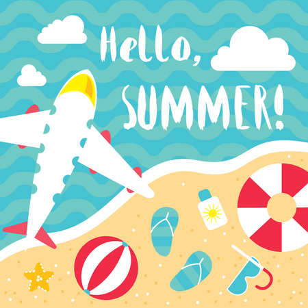 sunbath: Summer hello beach vector