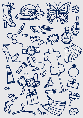 lady clock: Hand drawn fashion online shop icons set. Vector illustration. Illustration