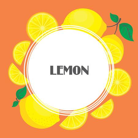 Fresh lemon fruit collection of vector illustrations
