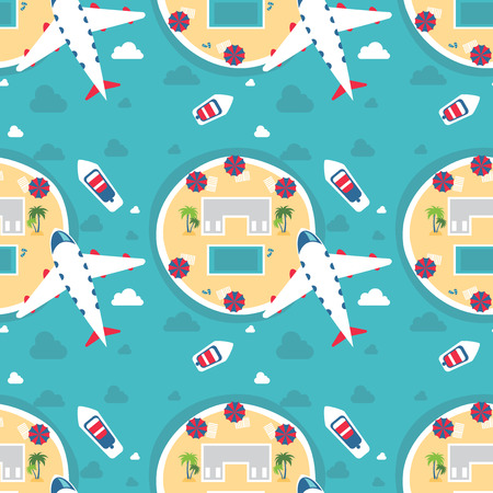 simple life: Travel and tourism seamless pattern; Vector illustration