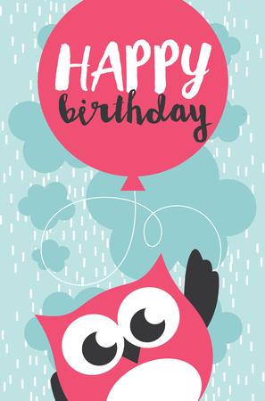postcard box: Happy owl birthday card design. Vector illustration