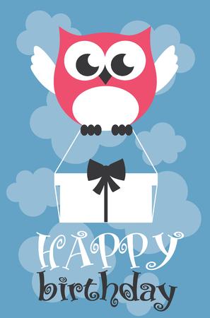 Happy owl birthday card design. Vector illustration Stock Vector - 80937352