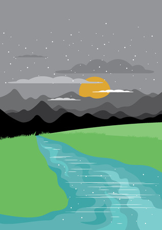 ridge: Landscape with forest and mountains. Vector illustration