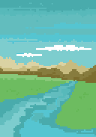 earth day: Pixel art game background with trees, ground, grass, sky and clouds
