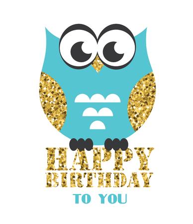 Happy owl birthday card design. Vector illustration Stock Vector - 80937363