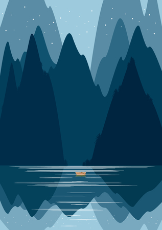 wanderlust: Landscape with forest and mountains. Vector illustration