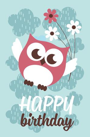 Happy owl birthday card design. Vector illustration Stock Vector - 80937346