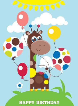 Cute Happy Birthday Card With Nice Giraffe Royalty Free Cliparts