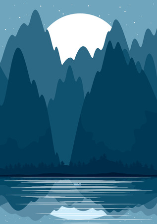 Landscape with forest and mountains Vector illustration
