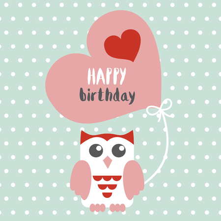 Happy owl birthday card design. Vector illustration Stock Vector - 81048000