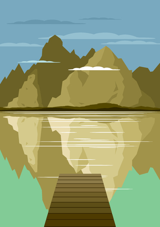 wanderlust: Landscape with forest and mountains Vector illustration
