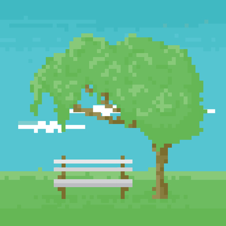 8bit: Pixel art game background with trees, ground, grass, sky and clouds