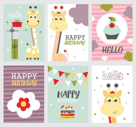 Set Of Cute Happy Birthday Cards With Nice Giraffe Vector