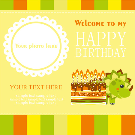 Fun Birthday Card With Baby Dino Vector Illustration Royalty Free