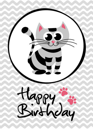 postcard box: cute creative cards templates with Happy birthday theme design. Hand Drawn card for birthday, anniversary, party invitations, scrapbooking. Vector illustration Illustration