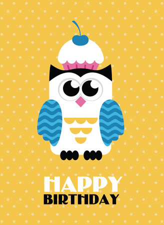 Happy owl birthday card design. Vector illustration.