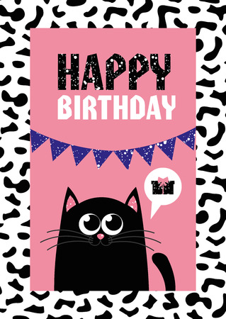 cute creative cards templates with Happy birthday theme design. Hand Drawn card for birthday, anniversary, party invitations, scrapbooking. Vector illustration Illustration