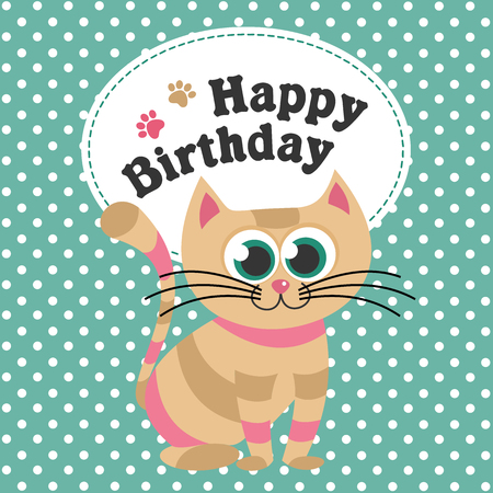 Happy birthday greeting card with cat design