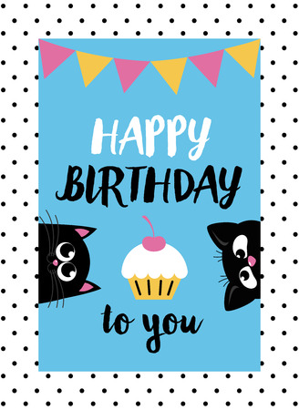 nesting: cute creative cards templates with Happy birthday theme design. Hand Drawn card for birthday, anniversary, party invitations, scrapbooking. Vector illustration Illustration