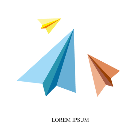 Origami silhouette of a paper aircraft. Vector Illustration