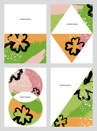 Set of creative universal art posters in tropical style. Hand Drawn textures. Wedding, anniversary, birthday, Valentines day, party invitations. Vector illustration
