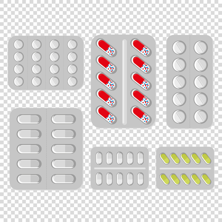 Set of vector pills and capsules. Icons of medication. Vector illustration