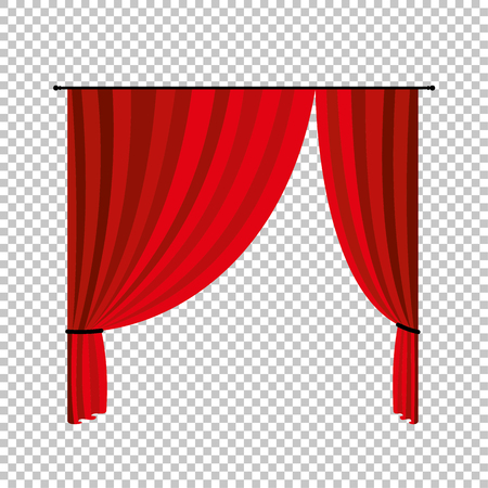 Red curtains. Vector illustration