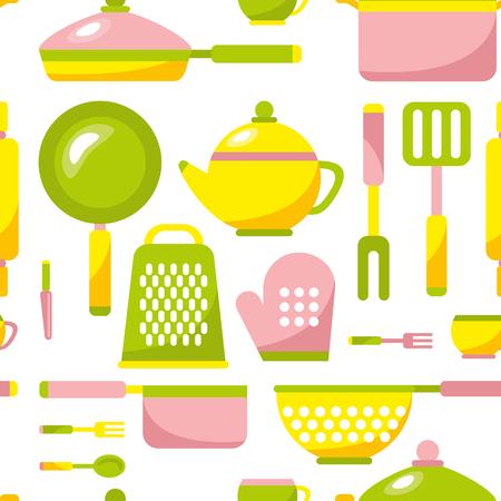 Naadloze keuken patroon vectorillustratie