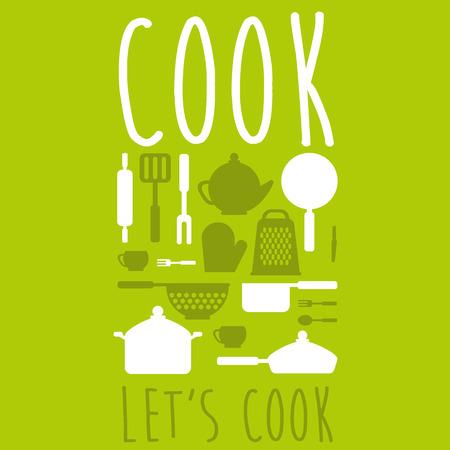 Cute kitchen pattern. Illustration