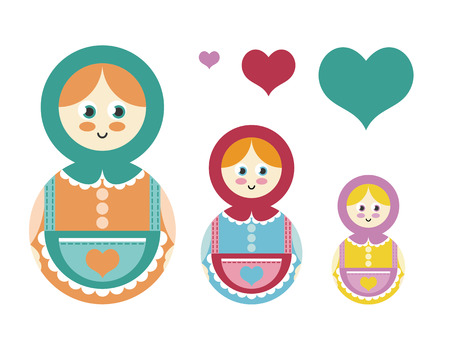 matryoshka: Set of Russian nesting dolls, Matryoshka. Vector illustration Illustration
