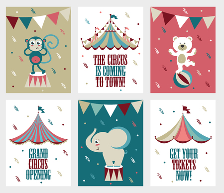 Set of 6 cute creative cards templates.