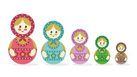 Set of Russian nesting dolls, Matryoshka. Vector illustration Illustration