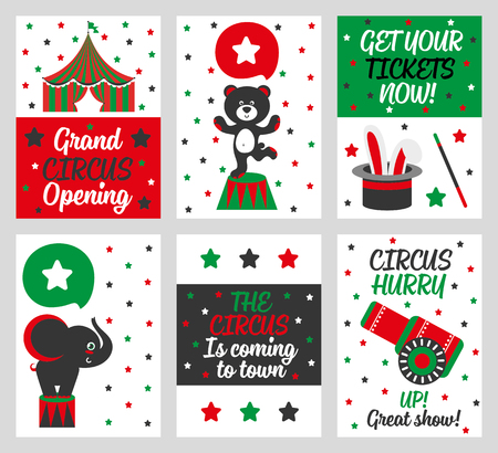 cartoon umbrella: Set of 6 cute creative cards templates with circus theme design. Card for party invitations, scrapbooking. Vector illustration Illustration