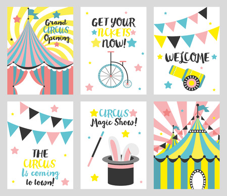 Set of 6 cute creative cards templates with circus theme design. Card for party invitations, scrapbooking. Vector illustration Illustration