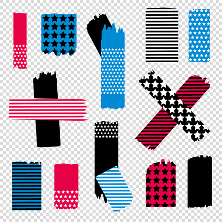 aria: Scotch tape pieces set. Vector Illustration