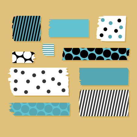 Scotch tape pieces set. Vectorillustratie