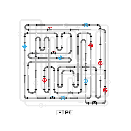 plastic conduit: The elements of the pipeline. Pipe system designer. Vector Illustration