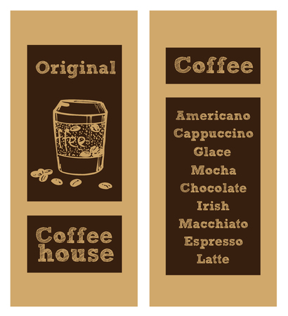 venice: Coffee menu card for different types of coffee. Vector Illustration