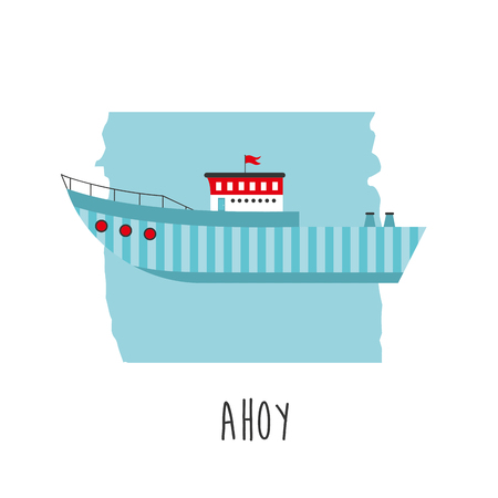 owl illustration: Cute boat ahoy greeting card. Vector Illustration