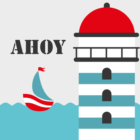 ahoy: Cute boat ahoy greeting card. Vector Illustration