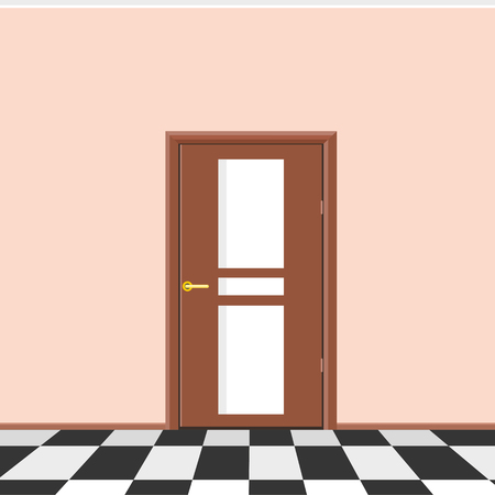 interior decoration: Classic interior with door. Realistic vector illustration of the interior