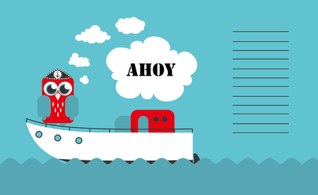 Cute boat ahoy greeting card. Vector Illustration