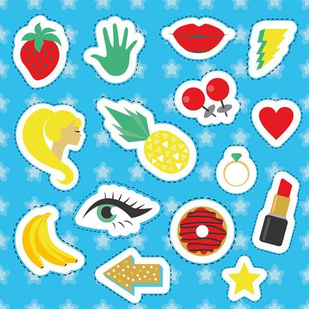 Set of fun stickers. Vector illustration.