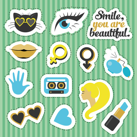 Set of stickers. Vector illustration
