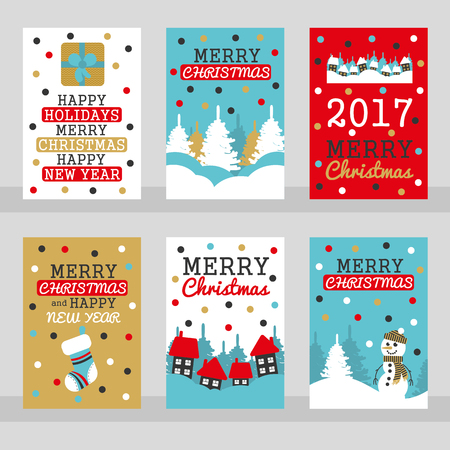 christmas gifts: Set of six merry christmas cards Vector Illustration