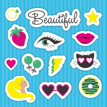 diamond ring: Set of fun stickers. Vector illustration.